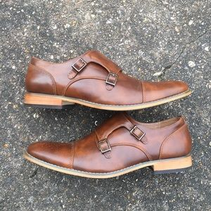 Brown monk shoes size 11